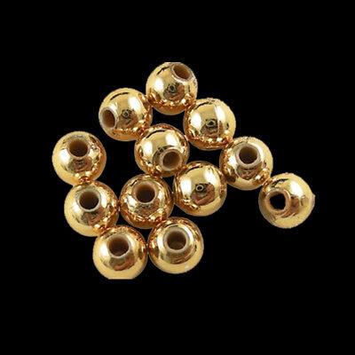 200pcs Golden Tone Plating Acrylic Round Beads 6mm Loose Spacer Bead DIY Jewelry