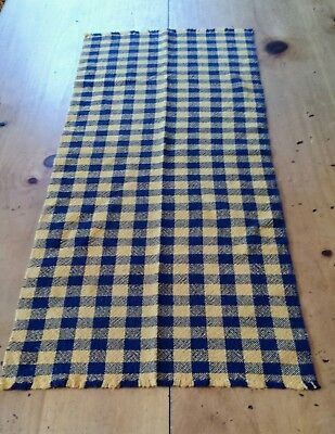 Handwoven Table Runner Mustard & Navy Cotton Check Primitive Colonial 15 X 35