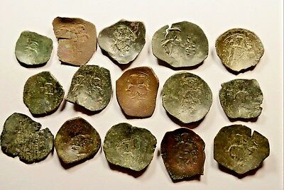 Lot Of 15 Ancient Byzantine Cup Coins - 026