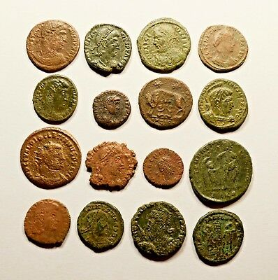 Lot Of 16 Imperial Roman Bronze Coins For Identifying - 045