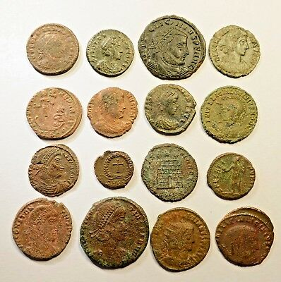 Lot Of 16 Imperial Roman Bronze Coins For Identifying - 040