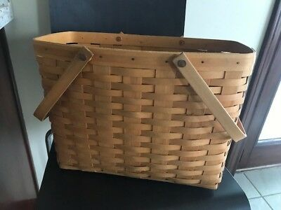 "Longaberger basket magazine  style, used, 9"" w x 15"" l x 12"" h, good condition"