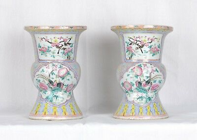 Fine antique pair of Straits Chinese Porcelain spittoons. Late 19th century.