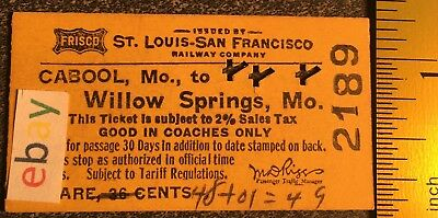Frisco railway pass from Cabool, Mo to Willow Springs, Mo 1967