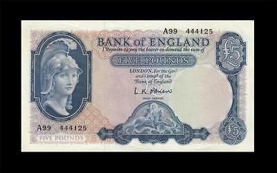 "1957-61 BANK OF ENGLAND QEII 5 POUNDS **O'Brien** ""A"" (( EF+ ))"