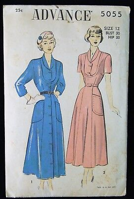 Vintage Original Advance 40's Afternoon Dress Pattern No. 5055