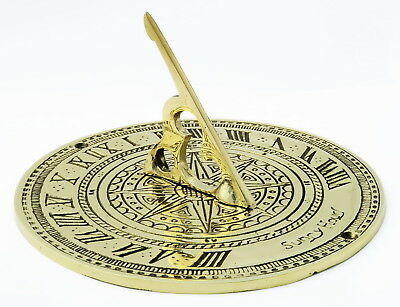 Solid Brass Sundial – antique ornamental circular Sunny Hours sun dial 18cm / 7""