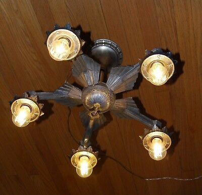 1920s Art Deco 5 Lamp Steel & Brass Chandelier Original Vintage Lighting