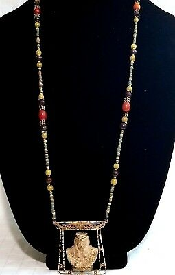 ⭐️ Ancient Egyptian Necklace King Tut Fine Sterling Silver Faience Amber Beads ⭐