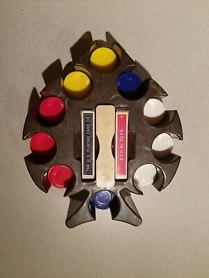 """VINTAGE MARBLED ACE OF SPADES BAKELITE POKER CHIP CADDY 10"""" Gray Brown White"""