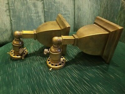 Pair Antique Wall Sconce Light Fixtures Mission Arts & Crafts Style One Shade