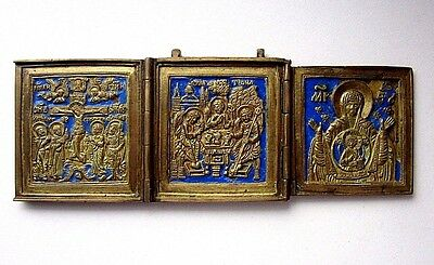Antique Russian Old Bronze ICON Triptych .19th century