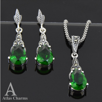 Set Marcasite Emerald Earrings Necklace 925 Sterling Silver Wedding Gifts Chain