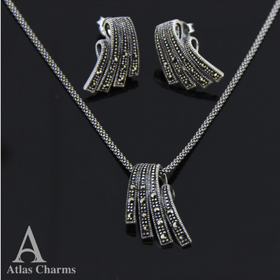 Set Marcasite Earrings Studs Necklace 925 Sterling Silver Wedding Gift Box Chain