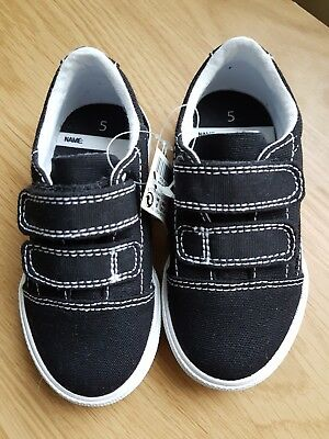 BNWT Baby Boys Next Black Pumps Size 5. Velcro Straps, White Threadwork