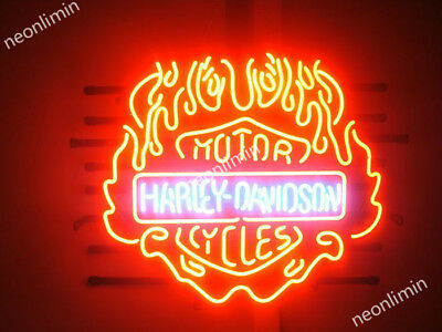 RARE Harley Davidson Fire Flames Motor Cycle Bike Real Neon Sign Beer Bar Light
