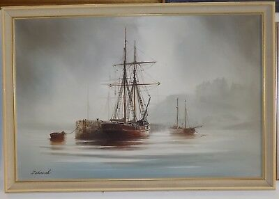 Shipping at a Jetty Oil Painting on Canvas signed framed