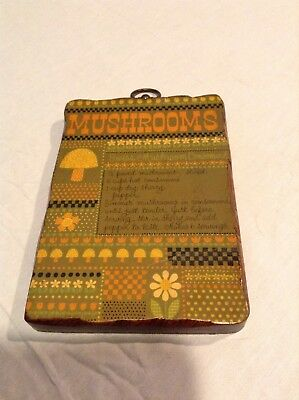 Vintage 70s Swiss Mushroom Consomme Wooden Recipe Card Plaque.