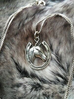 Beautiful Vintage Sterling Silver Horse Horseshoe Pendant Necklace Equestrian