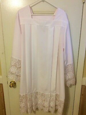 """USED Square Neck Rochet Alb Surplice with Latin IHS Cross Lace 9""""  XL"""