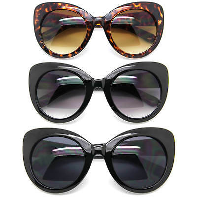 XXL Oversized Cat Eye Sunglasses Large Plastic Frame Women Fashion Black & Brown