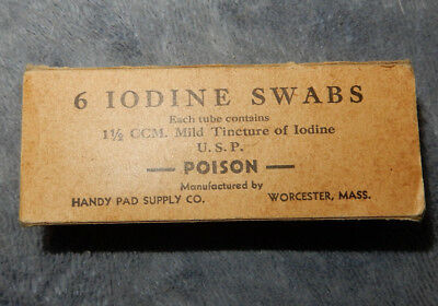 Original Wwii Us Army Iodine Swabs Box With Contents, Dated 1942