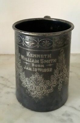 Antique 1932 Small Ep Chased Ornate Inscribed Christening Tankard 3 Inch Tall