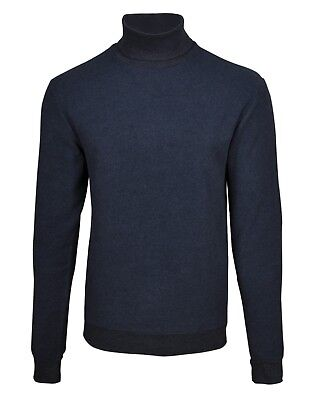 Mens Slim Navy Blue Winter Thick Fabric Roll Polo Turtle Neck Pullover Sweater