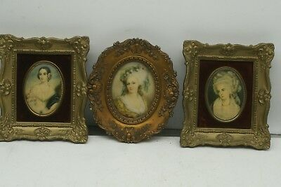 Set of 3 Vintage CAMEO CREATION Portraits Victorian Lady's