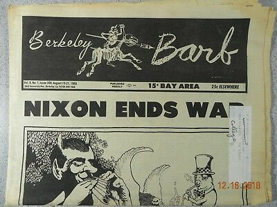Berkeley Barb # 209, 1969 Underground Nixon Ends War drops LSD Acid Dr T Leary