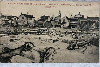 RPPC Ruins Of Entire Block Flood of Homes Formerly Owens St 1913 HAMILTON OH