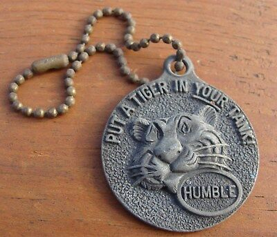 "Vintage Humble 1950's Gas & Oil ""put A Tiger In Your Tank"" Key Chain-Very Nice !"