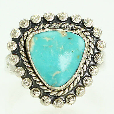 New Old Stock BELL TRADING 925 Southwestern Turquoise Triangle Ring VTG Sz 6.25