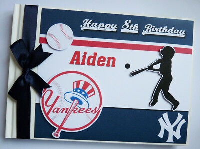 Personalised Yankees  Birthday Guest Book - Any Design
