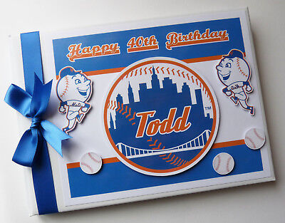 Personalised Ny Mets  Birthday Guest Book - Any Design