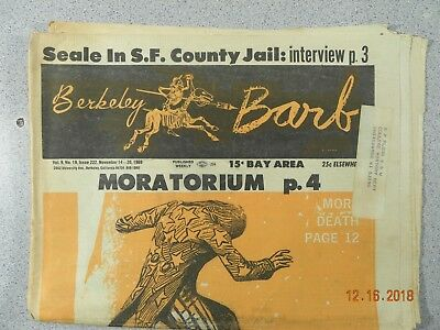 Berkeley Barb # 222, 1969 Underground Moratorium To Free Panthers & POWS