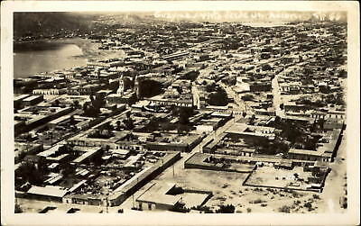 Guaymas Mexico ~ aerial from airplane ~ real photo postcard RPPC