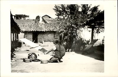 Village woman weaving ~ from Guatemala collection ~ RPPC real photo postcard