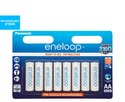Panasonic Eneloop Rechargeable AA Batteries 8-Pack