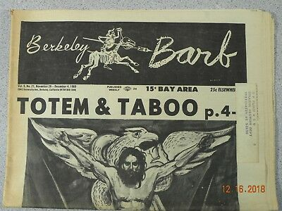 Berkeley Barb # 224, 1969 Underground Totem & Taboo Greed Makes World Go Round
