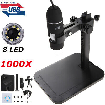 1000X 8LED 2MP USB Digital Microscope EndoscopeMagnifier Camera with Lift Stand