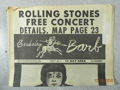 Berkeley Barb # 225, 1969 Underground Rolling Stone Concert Alice in Acid Land