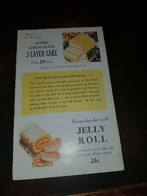 Vintage Holmes bakery Washington Jelly Roll Ad Card  Native American Indian...