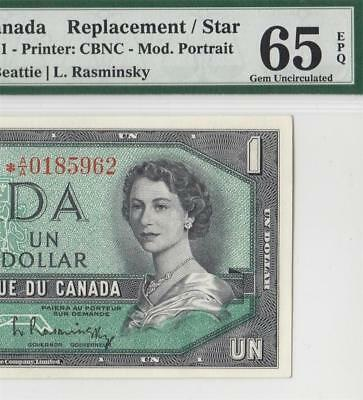 "1954 Bank Of Canada Qeii $1 **star Note** ""a/a"" (( Pmg 65 Epq ))"