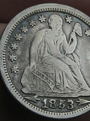 1853 P Seated Liberty Silver Dime- With Arrows- XF Details