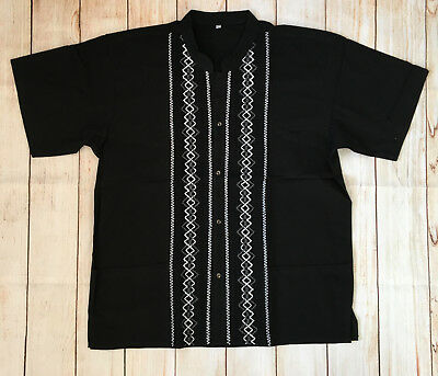 Mens Handmade Traditional Mexican Guayabera Shirt Black Fiesta Wedding