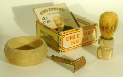 1940's Gilette Gold Tech Safety Razor set with antique cup, brush and box