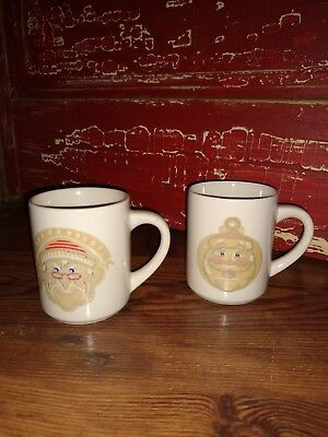 Vintage Pair Of Denny's Restaurant Christmas Santa Mugs