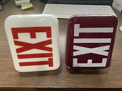 Vintage Exit Sign Wedge Shape Ruby Glass Light Globe White Letters