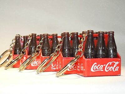 Vintage Coca Cola Bottle Carton Key Chains 6 Packs (Lot Of 5) Free Shipping